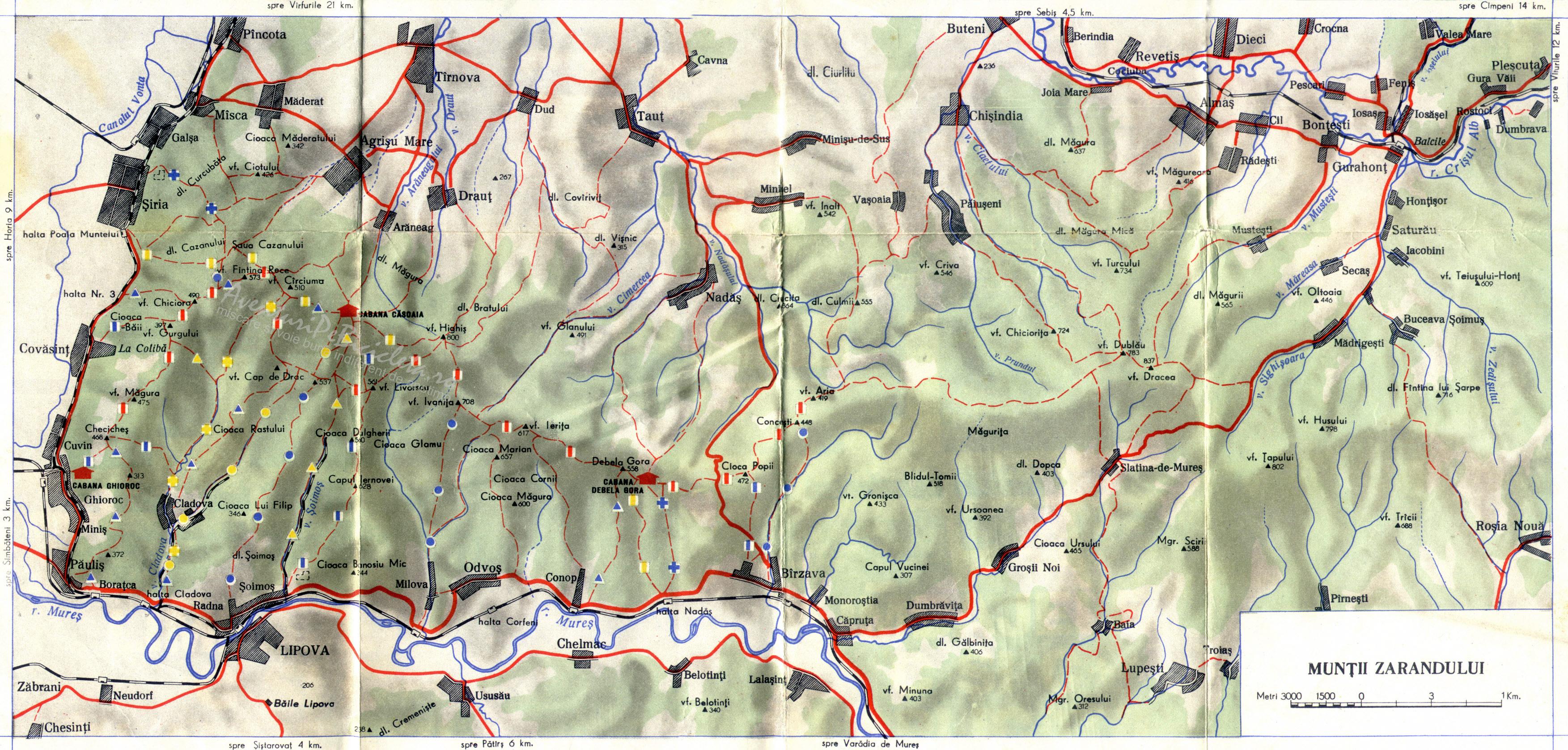 Harta Muntii Zarandului - Aventuri pe bicicleta